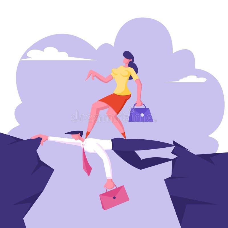 El abismo superado de la mujer de negocios que va por la parte posterior del hombre de negocios tiene gusto en el puente, desafío ilustración del vector