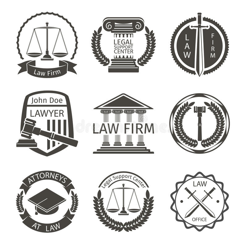 El abogado y el logotipo de la asesoría jurídica, emblema etiqueta vector stock de ilustración