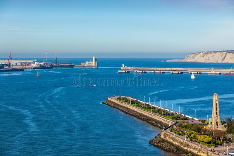 El Abra bay and Getxo pier and seafront, Spain. El Abra bay and Getxo pier and seafront. Basque country, The Northern Spain royalty free stock photo