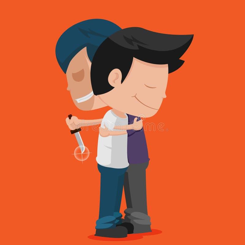 El abrazo de la puñalada del amigo del hombre traiciona vector ilustración del vector