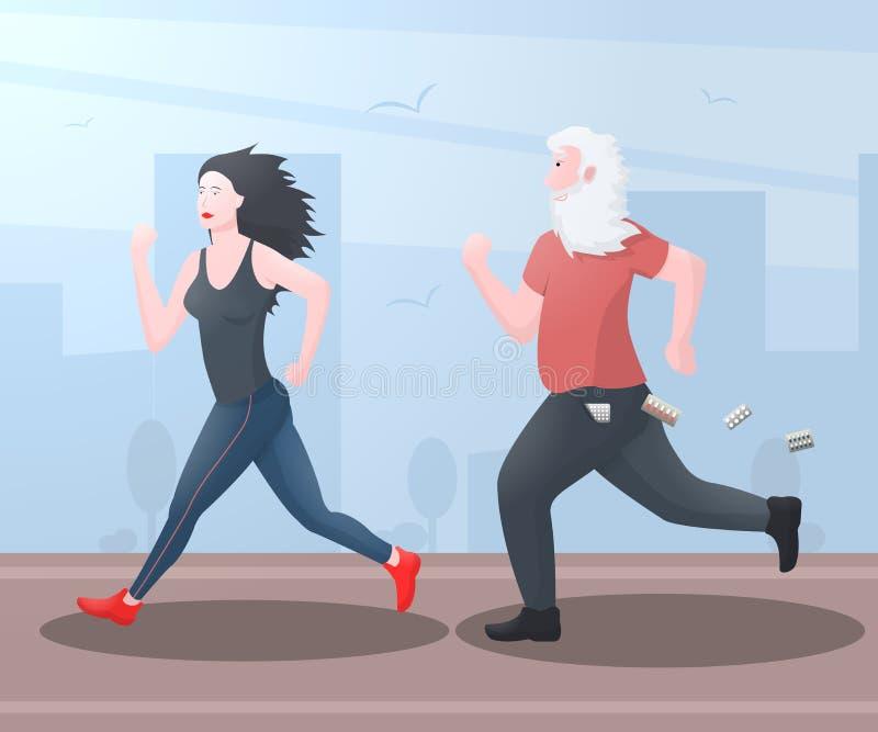 El abuelo divertido del viejo hombre corre para una muchacha corriente hermosa ilustración del vector