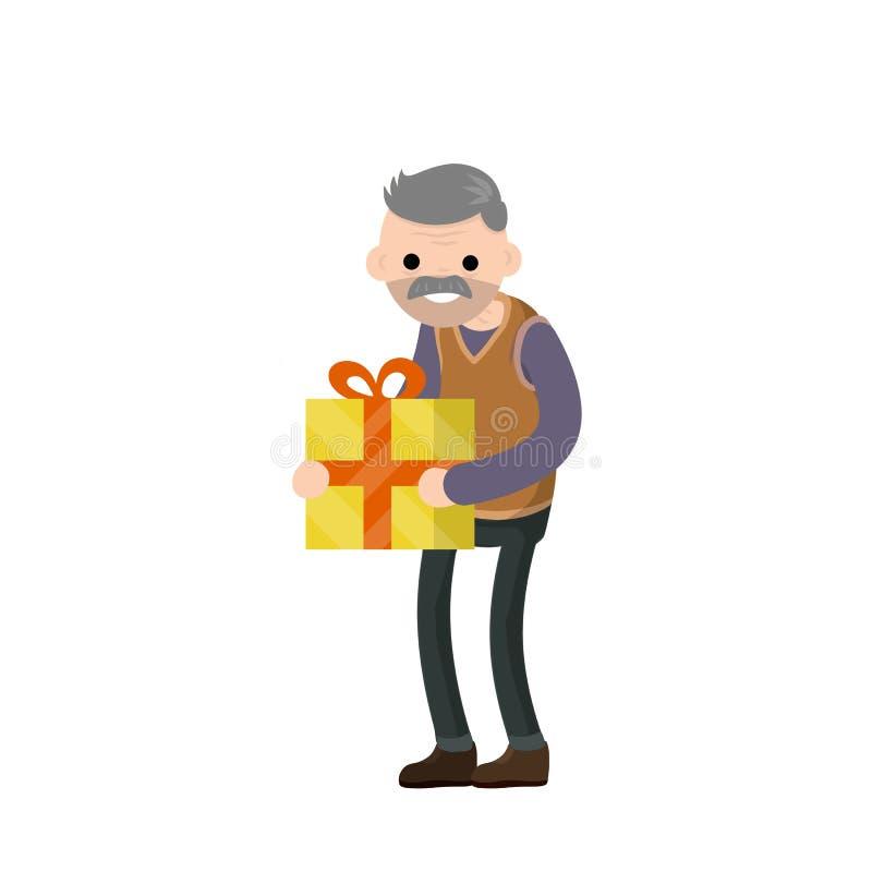 El abuelo est? sosteniendo una caja de regalo stock de ilustración