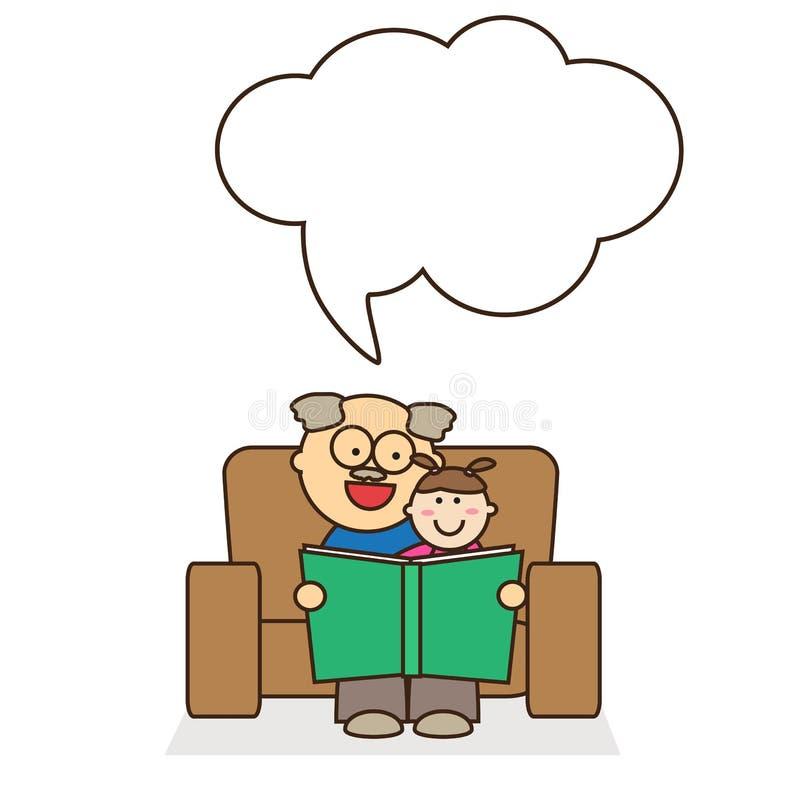 El abuelo lee a su pequeña nieta un libro libre illustration