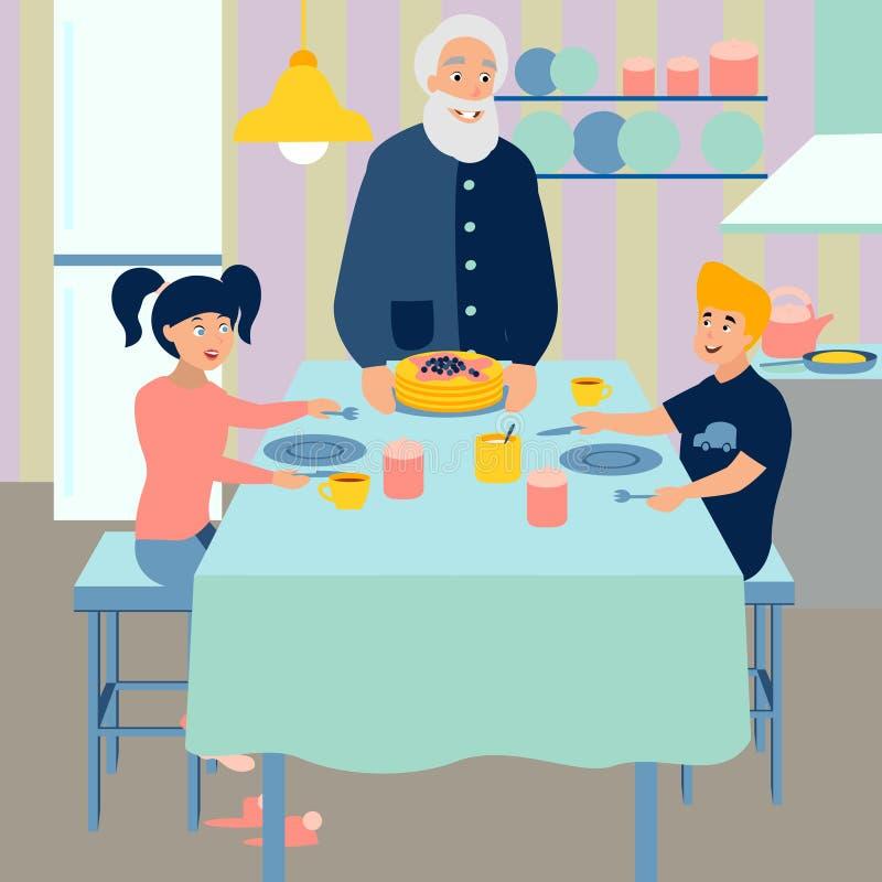 El abuelo prepara el desayuno para los nietos Cocina m?s interier r Vector de la historieta libre illustration
