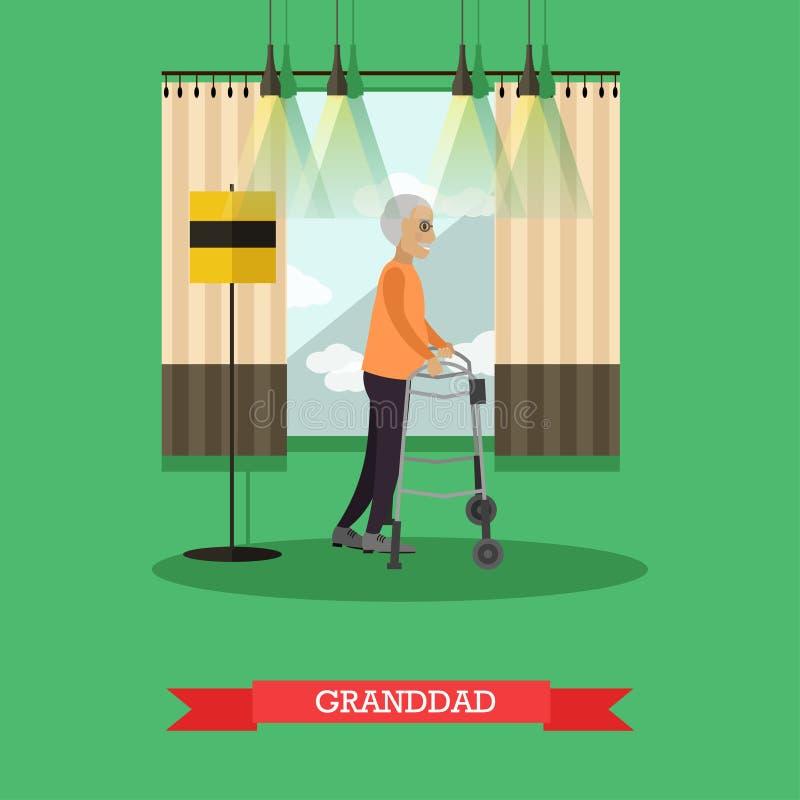 El abuelo que usa a caminante vector el ejemplo en estilo plano stock de ilustración