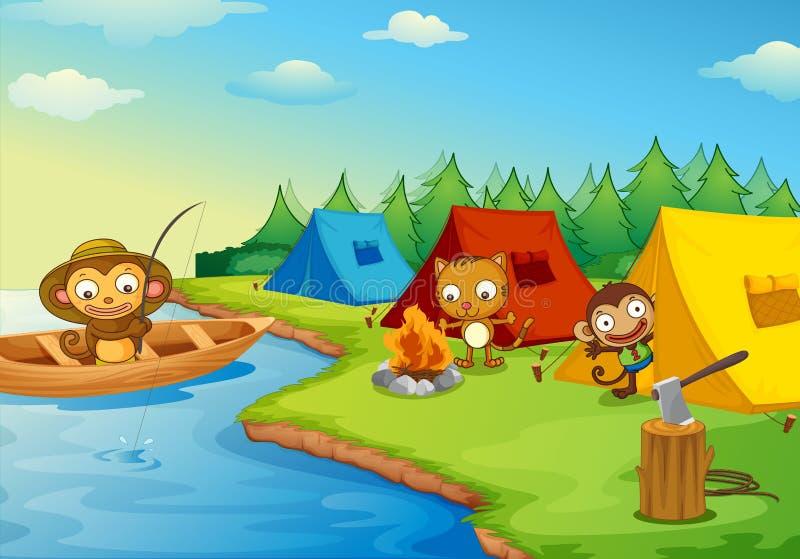 El acampar ilustración del vector
