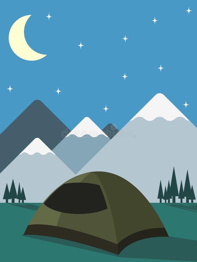 El acampar bajo las estrellas ilustración del vector