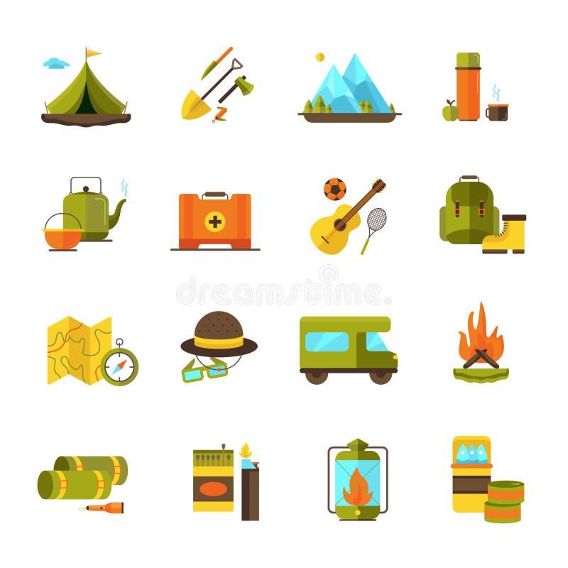 El acampar caminando los iconos planos de la aventura fijados ilustración del vector