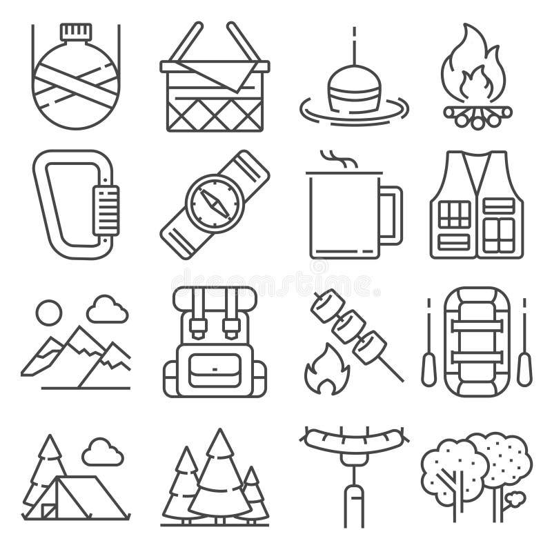El acampar de la línea y sistema al aire libre de los iconos de la reconstrucción ilustración del vector