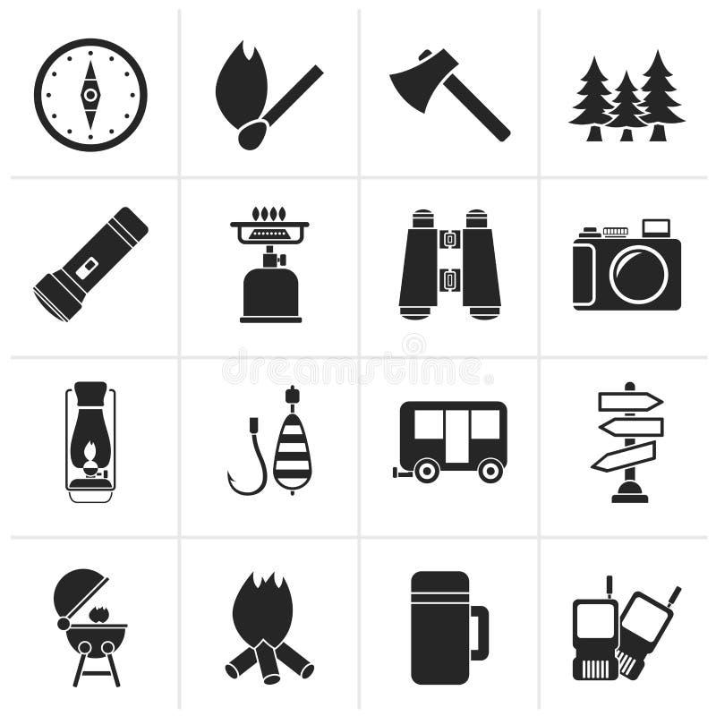 El acampar de la silueta, viaje e iconos del turismo ilustración del vector