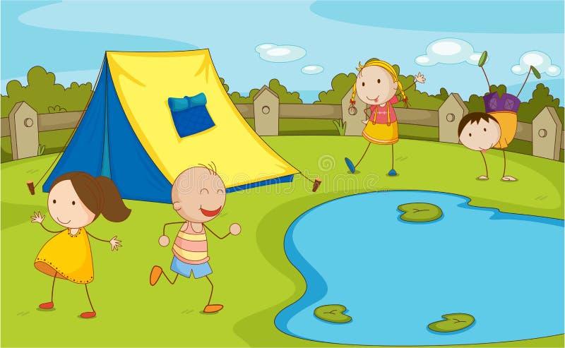 El acampar de los cabritos ilustración del vector