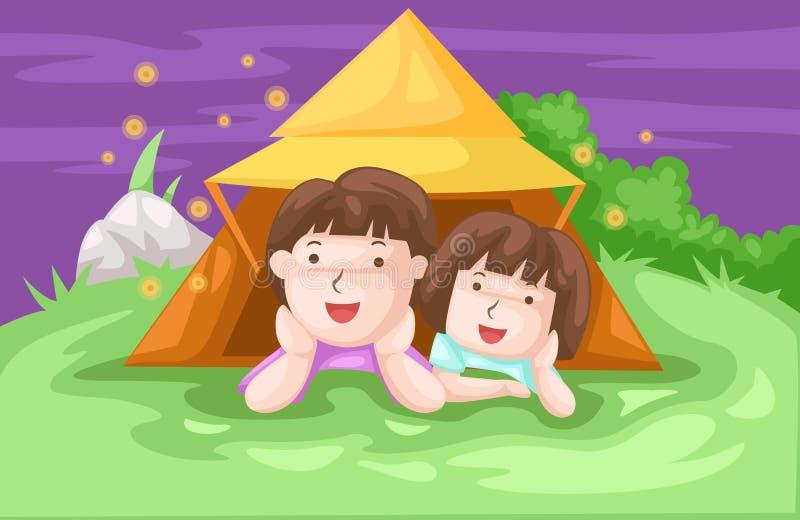 El acampar de los cabritos stock de ilustración