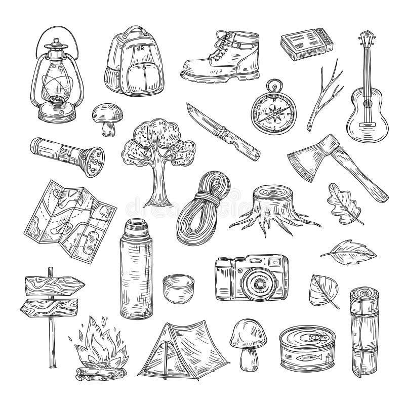 El acampar del garabato Caminar iconos al aire libre del vector del esquema del bosquejo de la aventura del verano del explorador stock de ilustración