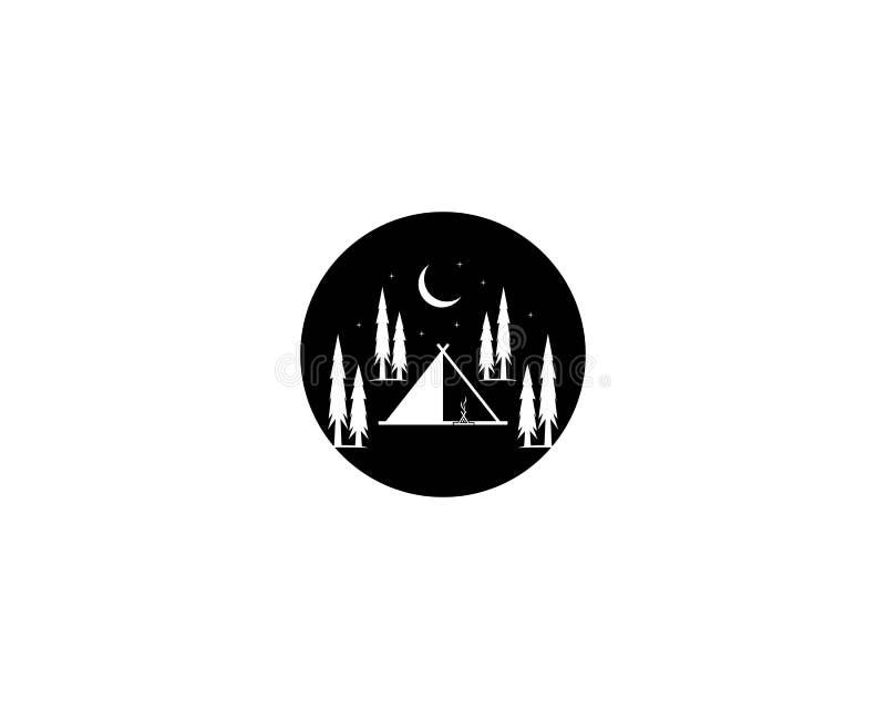 El acampar en el logotipo del ejemplo del vector del bosque stock de ilustración