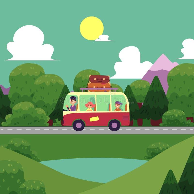El acampar plano del vector, escena del viaje por carretera stock de ilustración