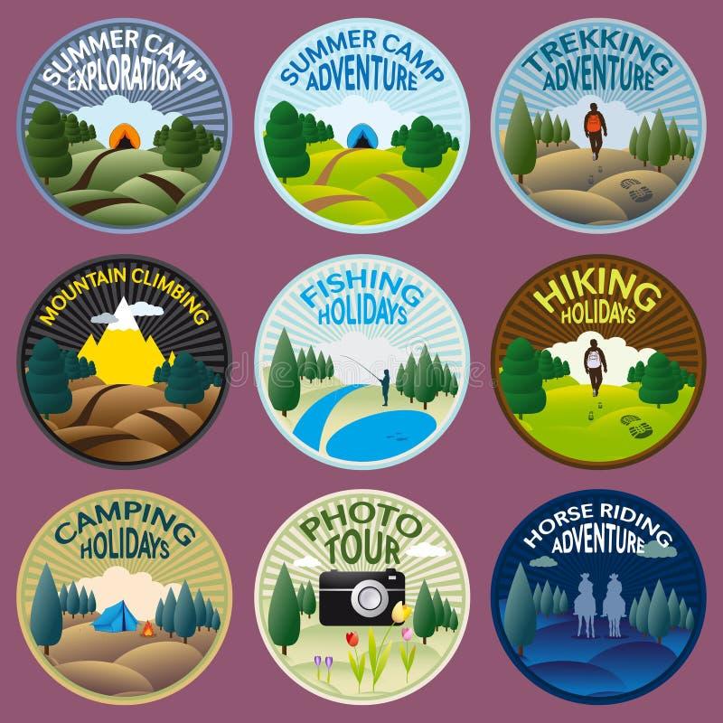 El acampar y actividades al aire libre stock de ilustración