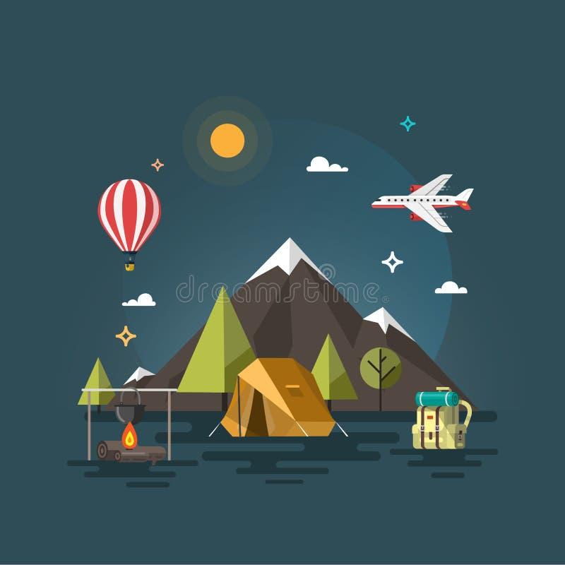 El acampar y campo de la montaña stock de ilustración