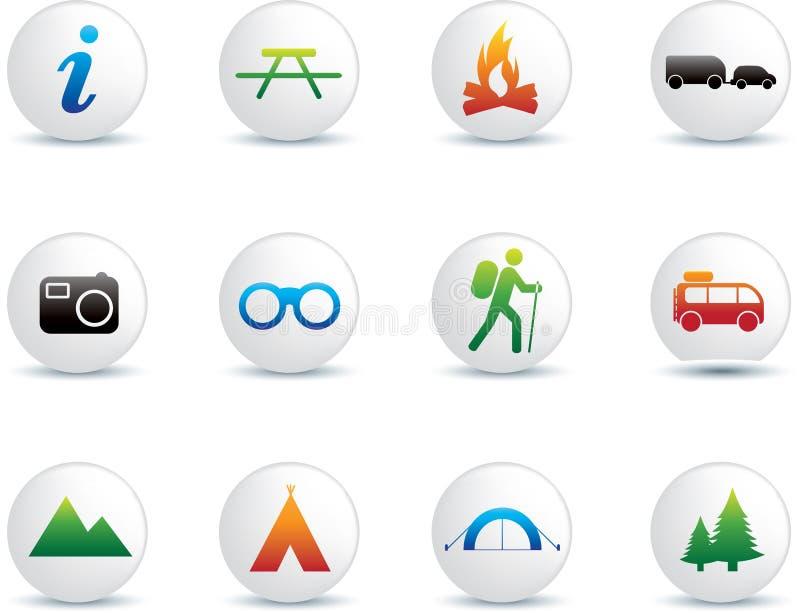 El acampar y conjunto al aire libre del icono stock de ilustración