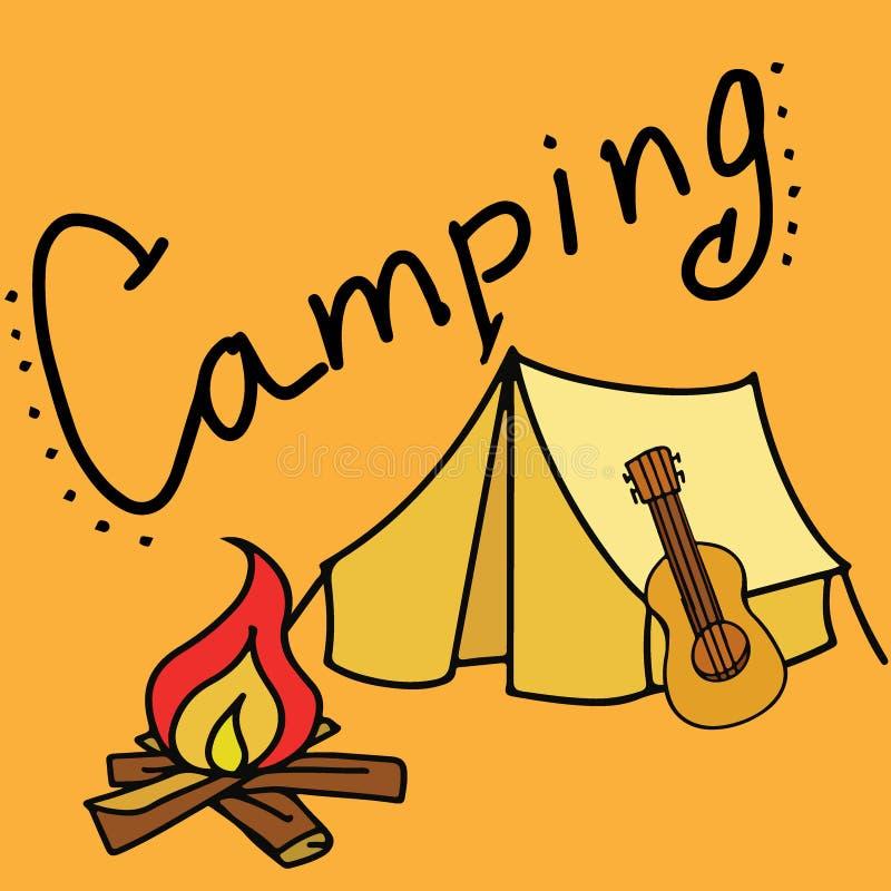 El acampar y ejemplo al aire libre del vector con la guitarra ilustración del vector
