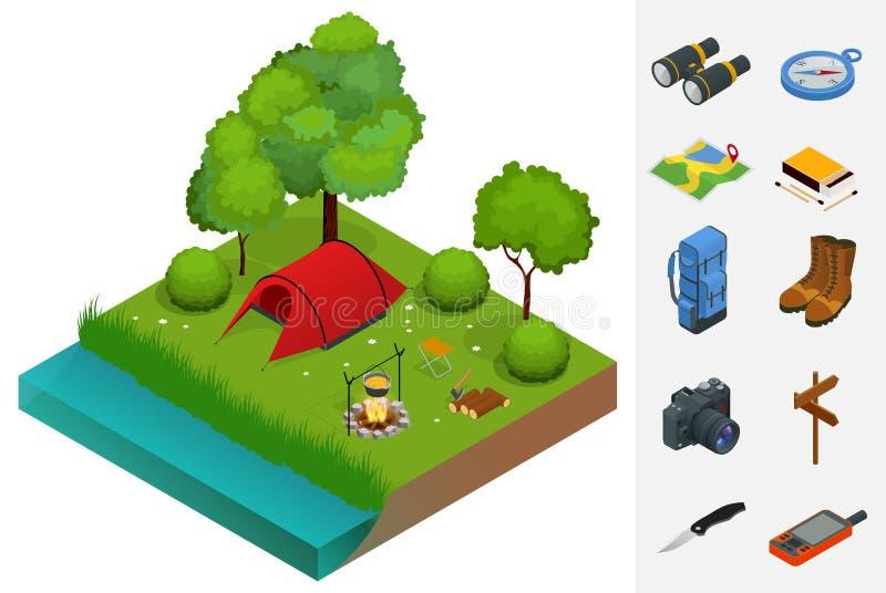 El acampar y tienda del verano cerca de un río o de un lago Ejemplo isométrico del vector plano 3d concepto de las vacaciones y d stock de ilustración