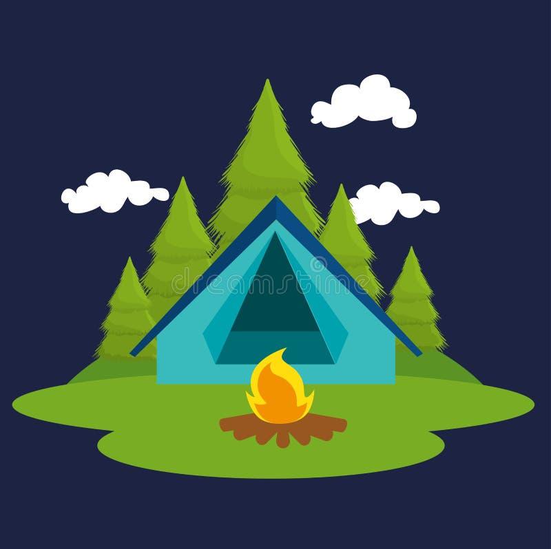 El acampar y viaje del verano stock de ilustración