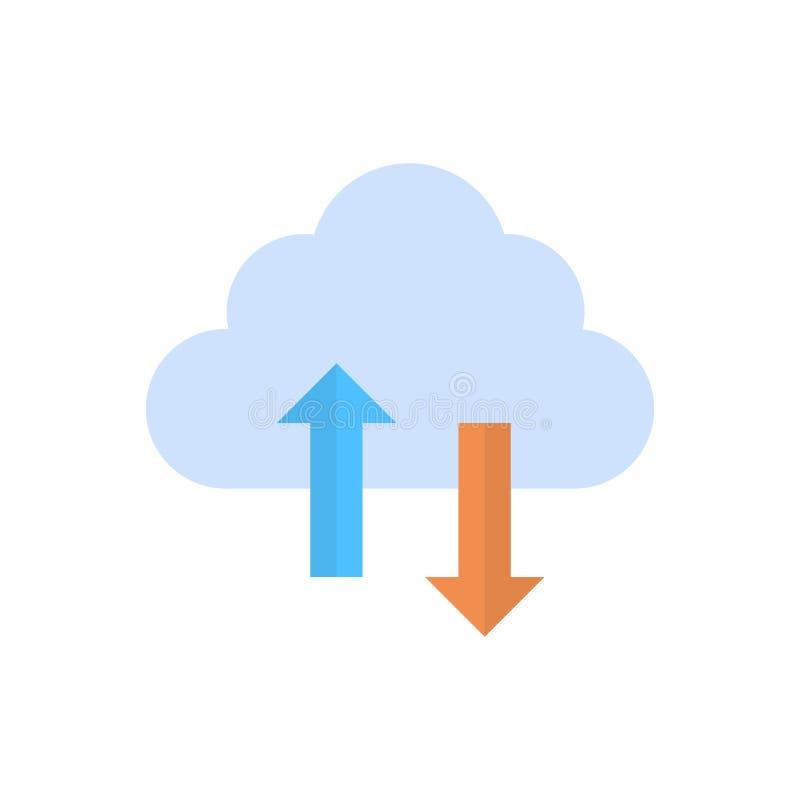 El acceso a bases de datos de la conexión del ordenador del icono de la sincronización de datos de la nube sincroniza tecnología stock de ilustración