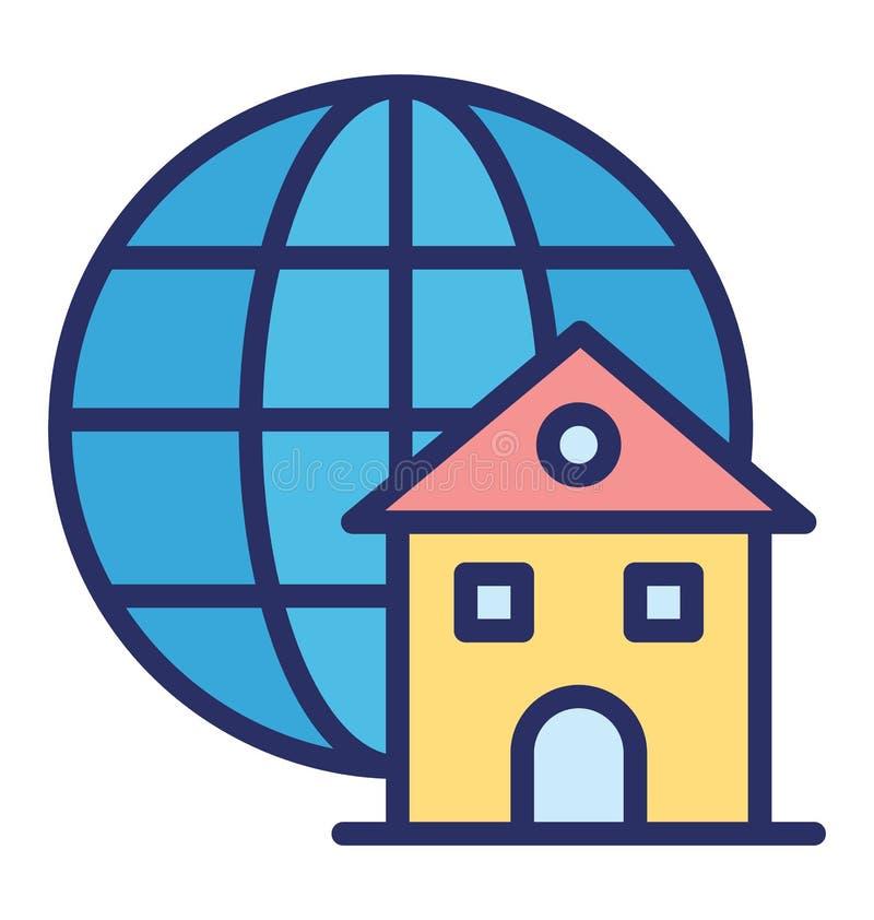 El acceso global aisló el icono del vector que puede modificar o corregir fácilmente el icono aislado acceso global del vector qu stock de ilustración