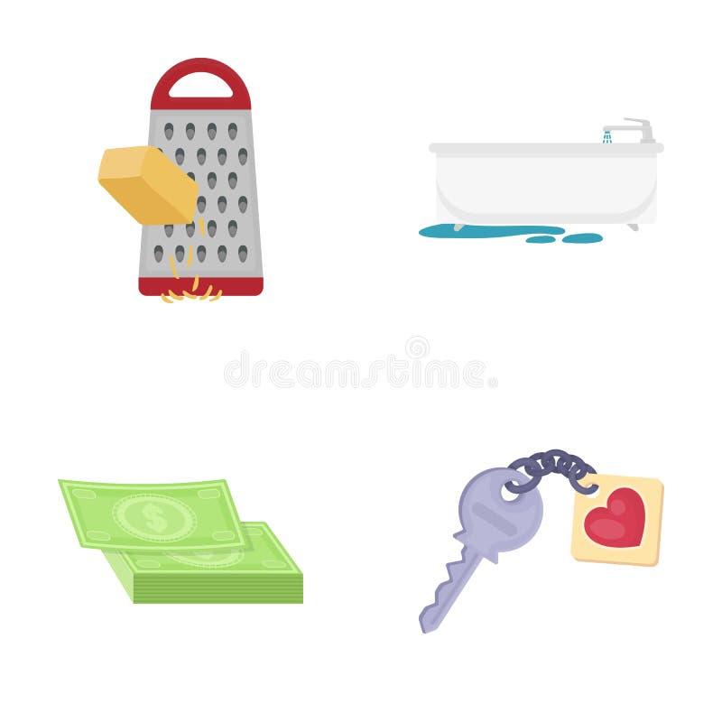 El acceso, la higiene, la comida y el otro icono del web en estilo de la historieta llave, llavero, seguridad, iconos en la colec stock de ilustración