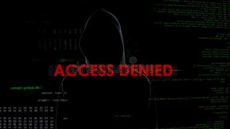 El acceso negó, tentativa que cortaba fracasada en el servidor, pirata informático en fondo fotografía de archivo libre de regalías