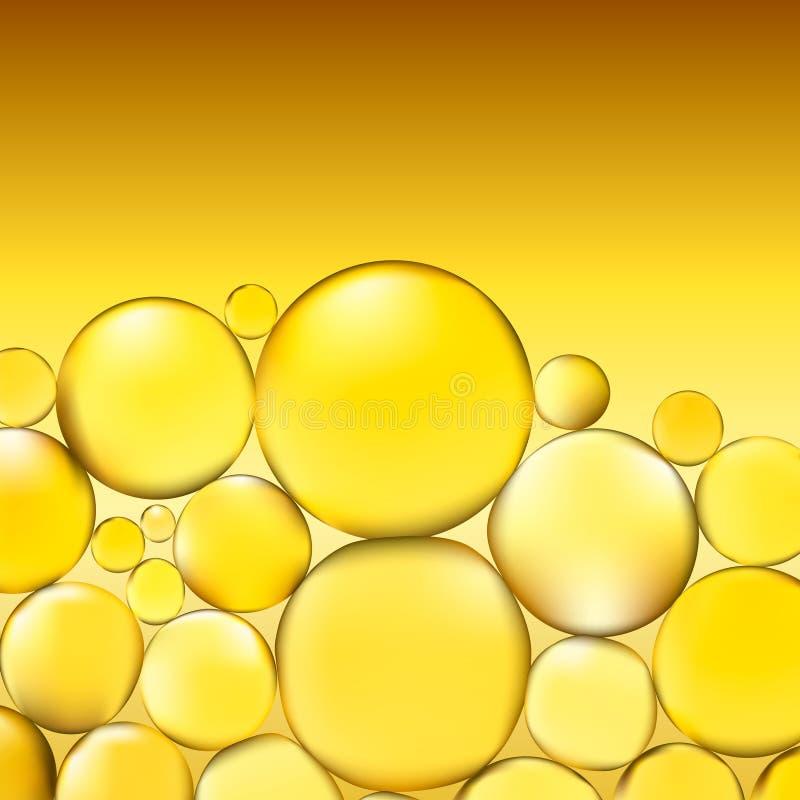 El aceite burbujea fondo El agua amarilla burbujea iluminación ligera abstracta Vector ilustración 3D stock de ilustración