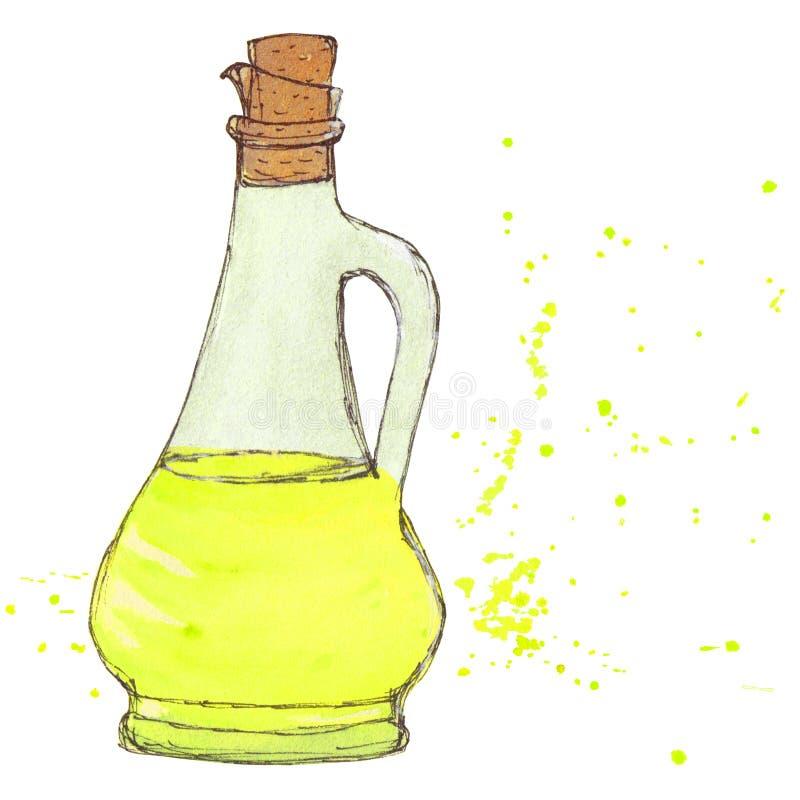 El aceite de oliva, botella de aceite de girasol con el corcho y salpica stock de ilustración