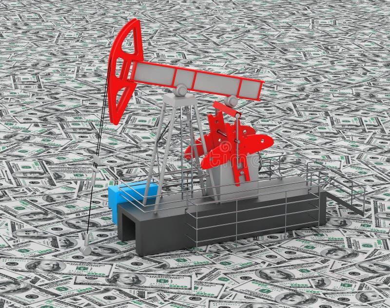 El aceite Jack Pump se coloca sobre el montón del dinero ilustración del vector