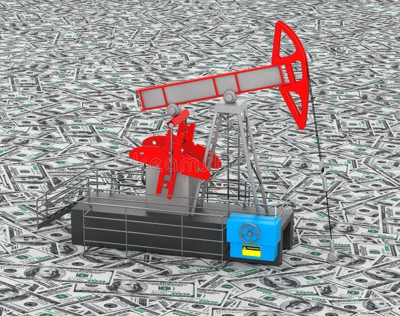 El aceite Jack Pump se coloca sobre el montón del dinero stock de ilustración
