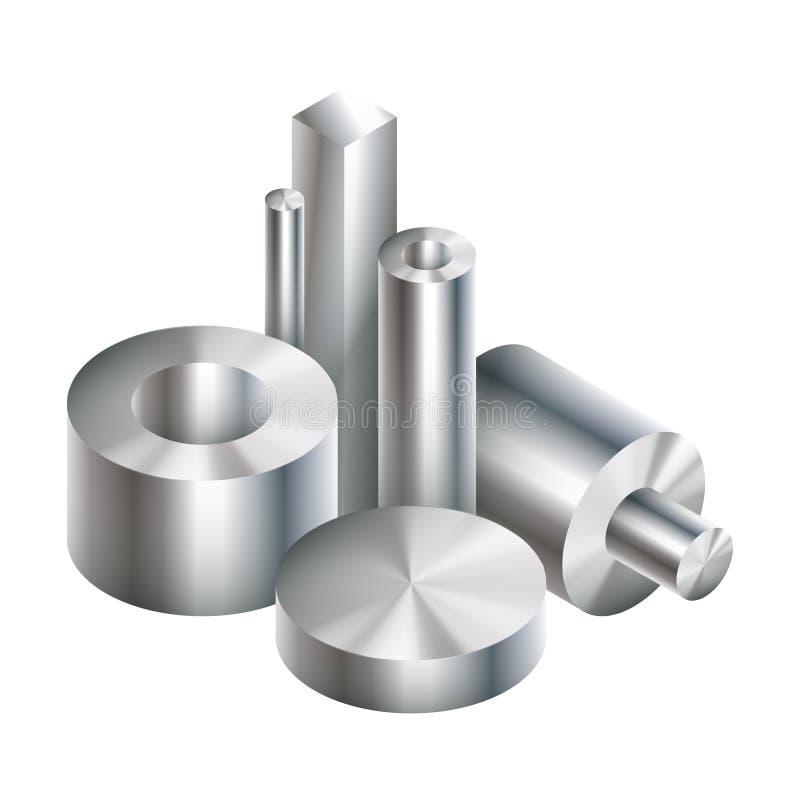 El acero del metal del grupo se opone la forja ilustración del vector