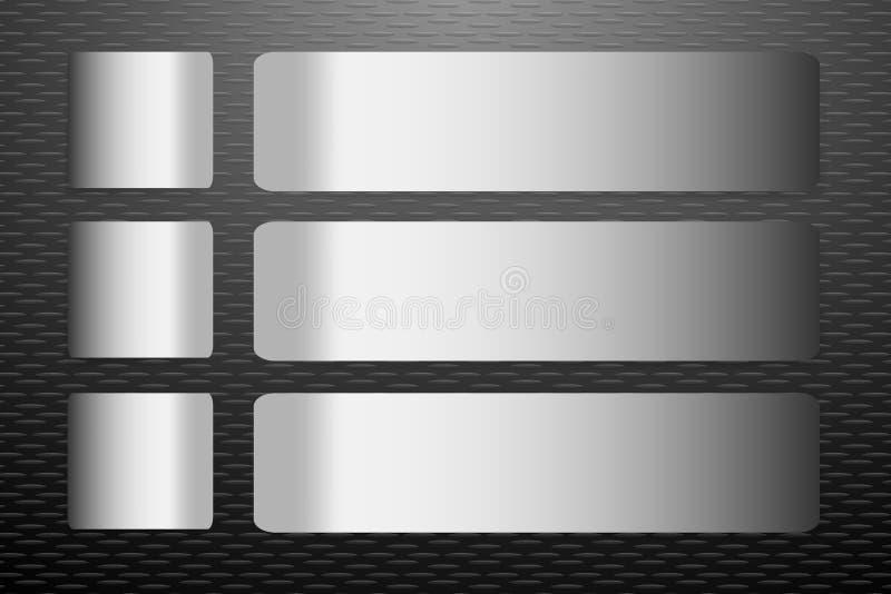 El acero etiqueta vector en el fondo grabado en relieve negro de la hoja libre illustration
