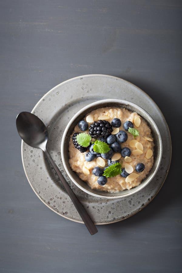 El acero sano del desayuno cortó las gachas de avena de la harina de avena con el blac del arándano imagen de archivo