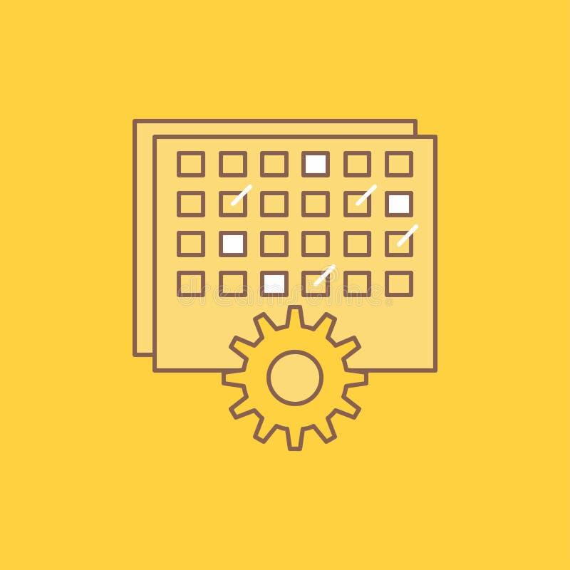 El acontecimiento, gestión, procesando, horario, línea plana de la sincronización llenó el icono Bot?n hermoso del logotipo sobre libre illustration