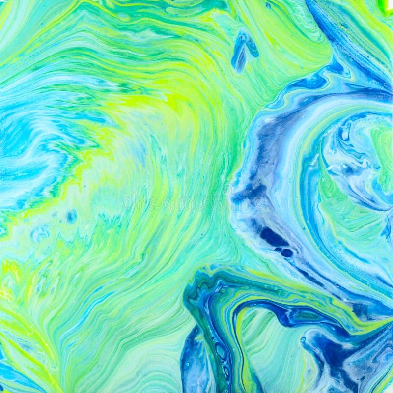 El acrílico azul y verde vierte la pintura ilustración del vector