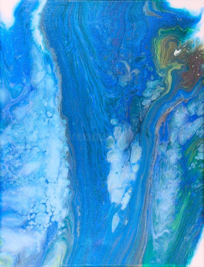 El acrílico de la cascada vierte la pintura flúida stock de ilustración