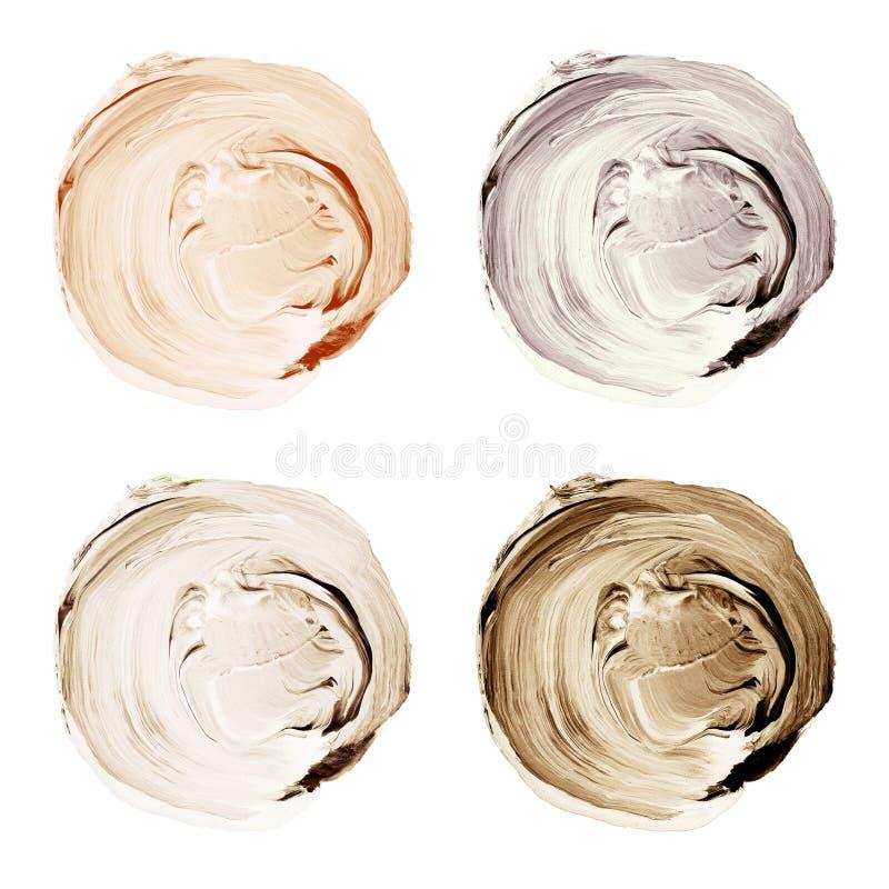 El acrílico texturizó círculos en las sombras de colores beige y marrones aisladas en el fondo blanco ilustración del vector