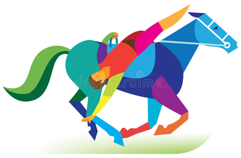 El acróbata de circo realiza un montar a caballo complicado del truco libre illustration