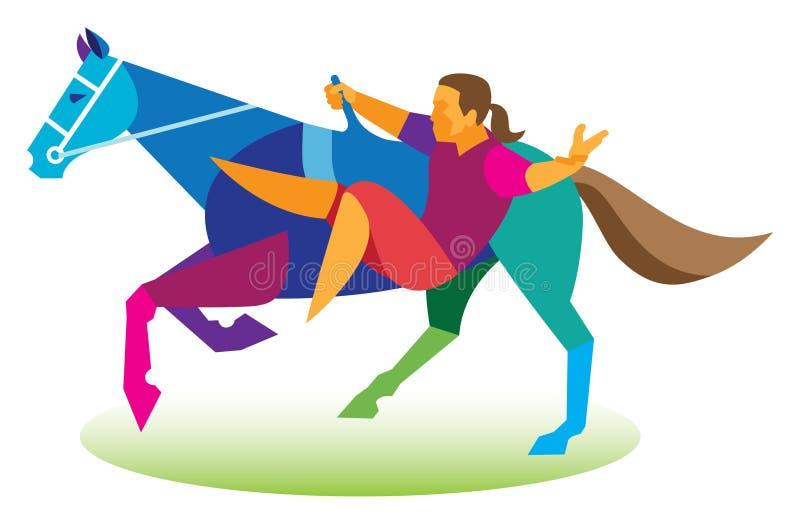 El acróbata realiza un número con un caballo ilustración del vector