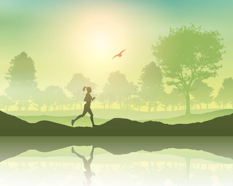 El activar femenino en el campo libre illustration