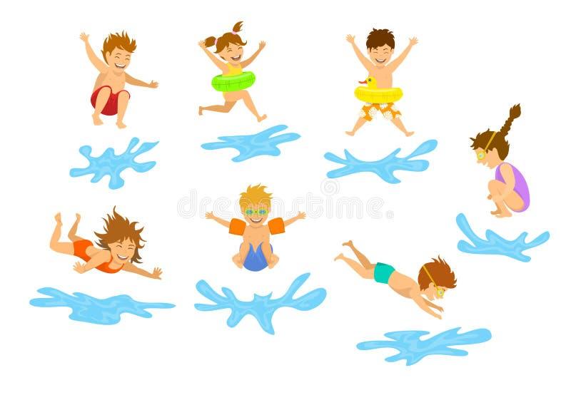 El Active embroma el salto que se zambulle de los niños, de los muchachos y de las muchachas en el agua de la piscina ilustración del vector