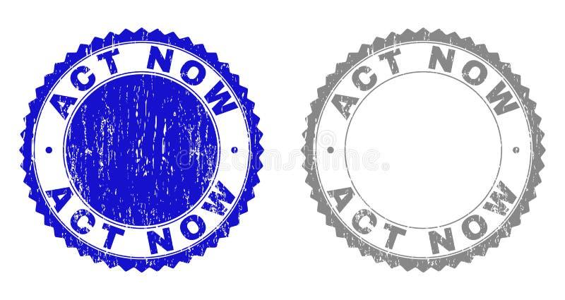 El ACTO texturizado AHORA rasguñó sellos con la cinta ilustración del vector