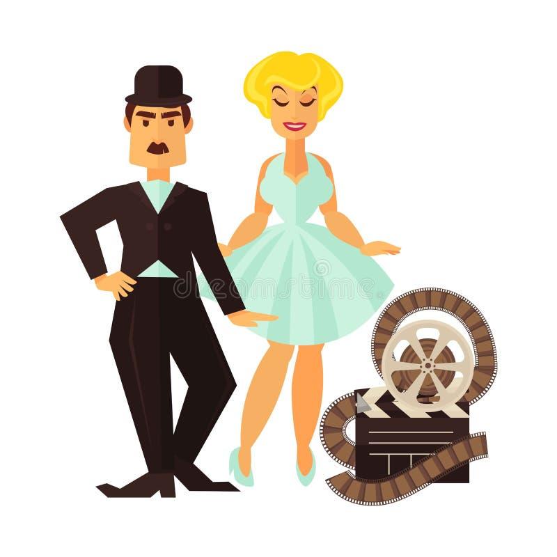 El actor del cine y la actriz retros de la película vector el icono plano del carácter de la cinematografía libre illustration