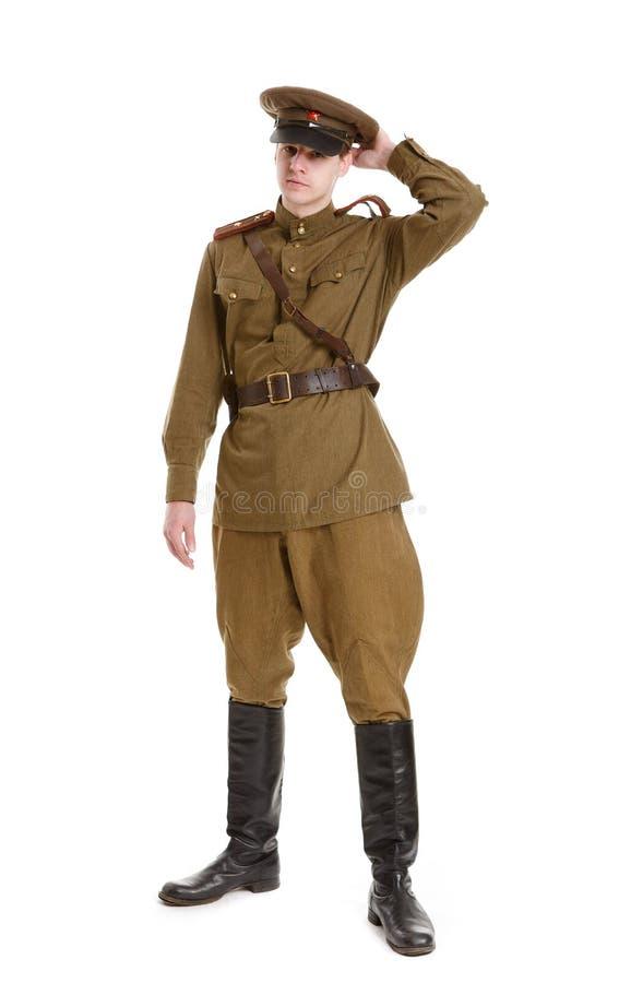 El actor vistió en uniformes militares la Segunda Guerra Mundial imagen de archivo libre de regalías