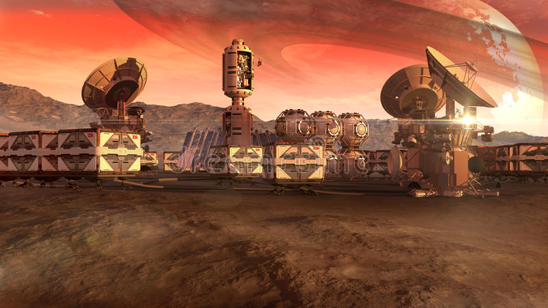 El acuerdo científico en un Marte le gusta el planeta ilustración del vector