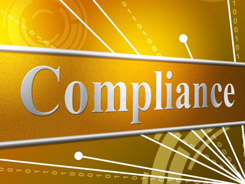 El acuerdo de la conformidad indica que la obediencia cumple y que consiente libre illustration