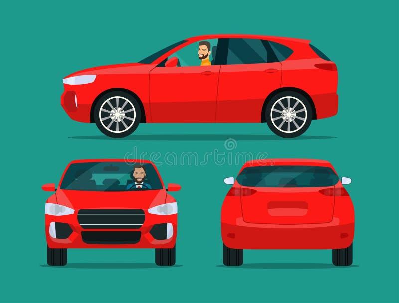 El acuerdo rojo CUV aisló Coche CUV con vista lateral del hombre del conductor, la visión trasera y la vista delantera stock de ilustración